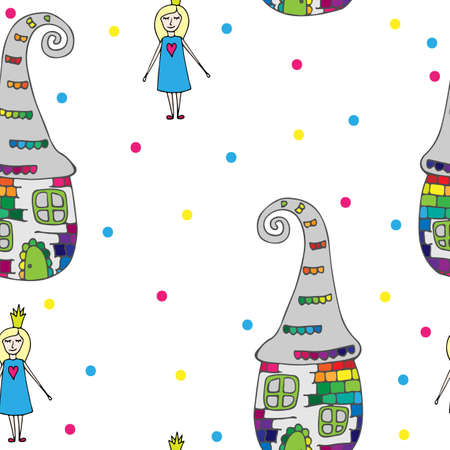 crone: Child seamless pattern with Fairy in crone and abstract house.