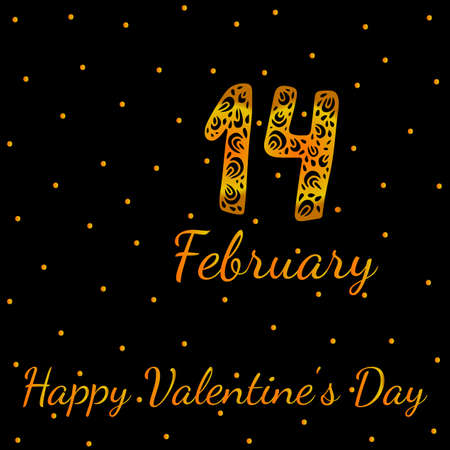 fourteenth: Gold greeting card with fourteenth February and Happy Valentines Day text illustration