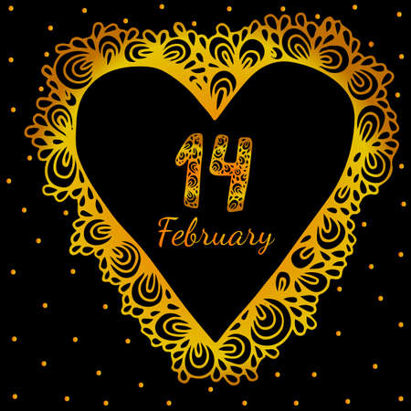 fourteenth: Gold heart frame shaped with fourteenth February text for greeting card, Valentines decor.
