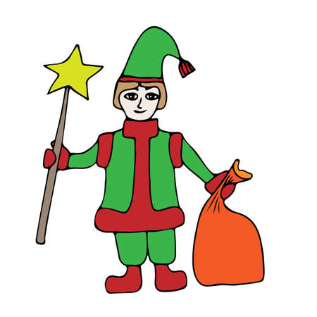 santa helper: Colorful little Santa helper with star and sack with gifts. Art element for adult coloring book page design. Illustration