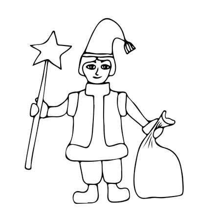 santa helper: Little Santa helper with star and sack with gifts. Mono color black line art element for adult coloring book page design.