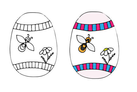Hand Drawn Easter Egg With Bee And Flower For Coloring Book Adult Design Elements