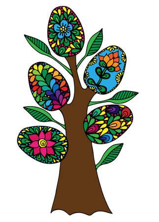 arbol de pascua: Árbol de Pascua con los huevos coloridos abstractos. Puede ser utilizado para la tarjeta, la invitación, carteles, fondos de la textura, pancartas, banderas. Vectores