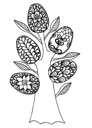arbol de pascua: Árbol de Pascua con huevos abstractas. Puede ser utilizado para la tarjeta, la invitación, carteles, fondos de la textura, pancartas, banderas.