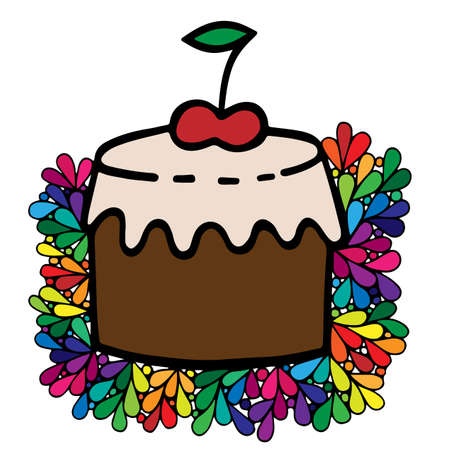 Colorful cake with cherry in ornate frame. Can be used for card, invitation, posters, texture backgrounds, placards, banners.