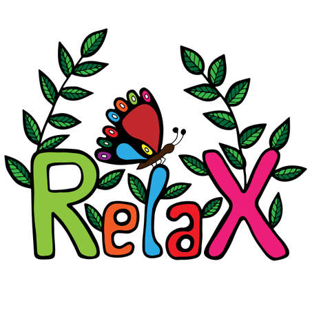 Colorful Relax inscription with butterfly and leaves. Can be used for print of clothes, coloring book, card, invitation, posters, placards, banners.
