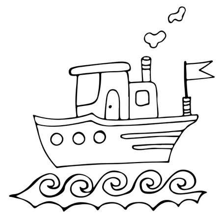 Colorido Barco Con Bandera Para Colorear Libro Y Otro Diseño ...
