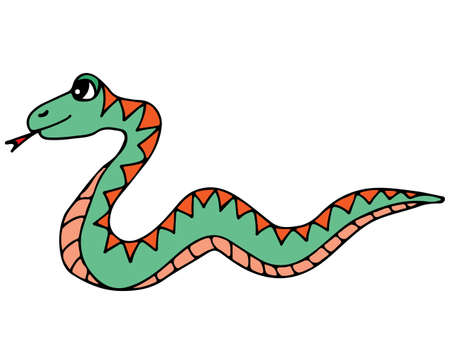 forked tongue: Cute colorful snake isolated on the white background. For coloring book and other child design.