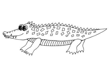 Vektor-Illustration Von Cartoon-Krokodil - Malbuch Lizenzfrei ...