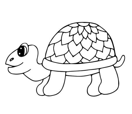 Cute tortoise isolated on the white background. Turtle for coloring book and other child design.