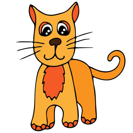 Cute orange cat isolated on the white background. For coloring book and other child design.