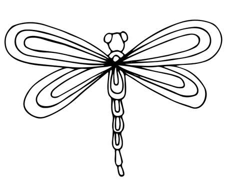 Cute dragon fly isolated on the white background. For coloring book and other child design Illustration