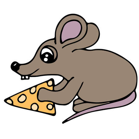Cute colorful mouse with piece of cheese isolated on the white background. For coloring book and other child design.