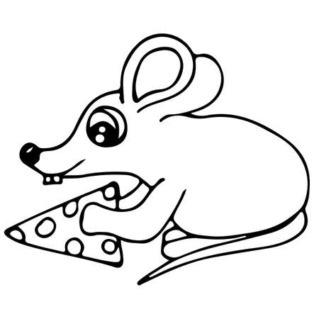 Cute mouse with piece of cheese isolated on the white background. For coloring book and other child design.