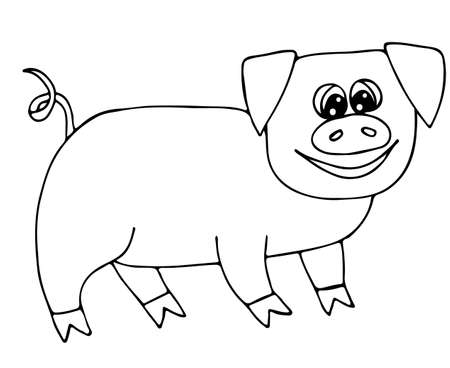Cerdo Rosado Lindo Aislado En El Fondo Blanco. Para Colorear Libro Y ...