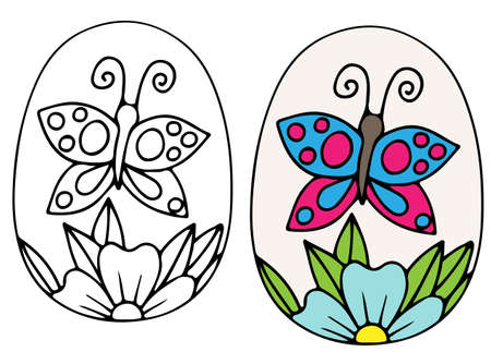 Mano Dibuja El Vector De Huevo De Pascua Con Mariposas Y Hojas ...