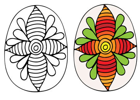 Mano Dibuja El Vector De Huevo De Pascua Con Flores Y Hojas. Símbolo ...