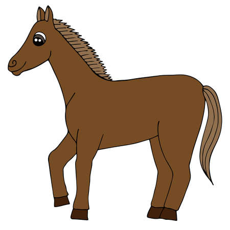 Cartoon brown horse vector isolated. Black line steed for coloring book, print and other design.