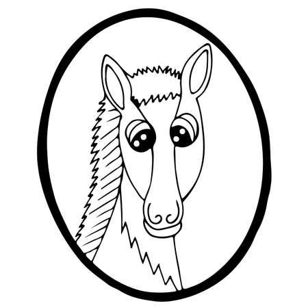 Cartoon head horse in frame. Black line steed for coloring book, print and other design.