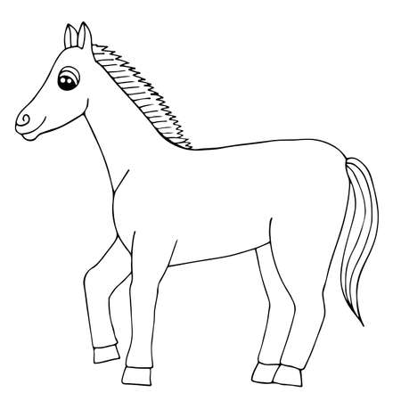 Vector De Caballo Marrón De Dibujos Animados Aislado. Corcel Negro ...