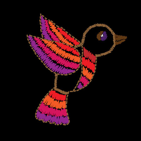 Bird embroidery stitches imitation on the black background. Vector colorful bird  for card, print and design.
