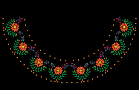 Embroidery stitches imitation frame with orange flower and butterfly. Folk embroidery pattern on the black background for printing on fabric, napkin and other decoration.