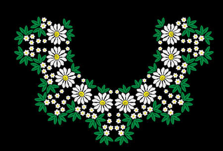pattern: Embroidery stitches imitation floral pattern with white flower and green leaf. Vector folk embroidery pattern on the black background for printing on fabric, napkin and other decoration. Illustration