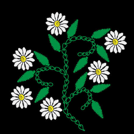 Embroidery stitches imitation with white flower and green leaf. Vector embroidery floral folk pattern on the black background for printing on fabric and other decoration. Illustration