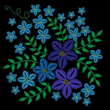 青い花と緑の葉刺繍ステッチ模倣。ベクトル刺繍花民俗のパターンと黒の背景の鳥の。