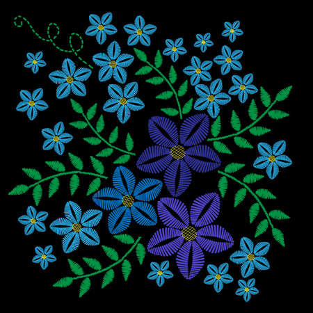 Embroidery stitches imitation with blue flower and green leaf. Vector embroidery floral folk pattern with bird  on the black background.
