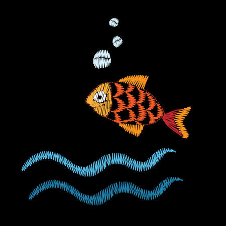 Little fish embroidery stitches imitation isolated on the black background. Embroidery fish with wave for logo, label, emblem, sign, poster, t-shirt print. Vector embroidery illustration. Illustration