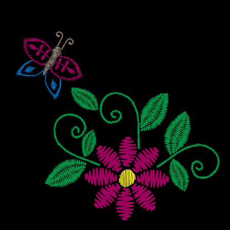Colorful embroidery stitches imitation folk flower with butterfly and green leaf. Floral embroidery pattern on the black background. Vector embroidery template for printing on fabric, napkin and other design.