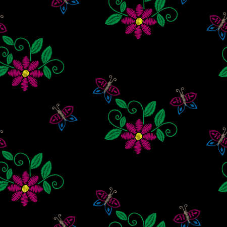 Seamless pattern with embroidery stitches imitation flower, buttefly and green leaf. Floral embroidery pattern vector background for printing on fabric, paper for scrapbook, gift wrap and wallpapers.