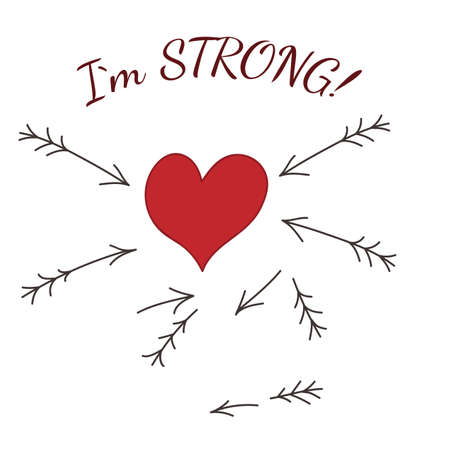 Red heart with broken arrows and I am strong text.