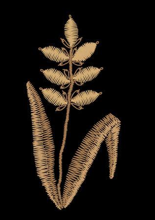 Ear of wheat embroidery stitches imitation. Cartoon illustration ear of wheat vector embroidery. Satin stitch imitation, vector.
