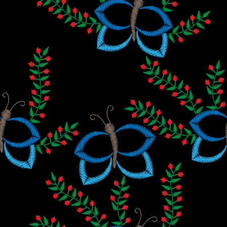 butterfly background: Seamless pattern with butterfly and brunch with berry embroidery stitches imitation. Butterfly and flower embroidery pattern for printing on fabric, paper for scrapbook, gift wrap and wallpapers.