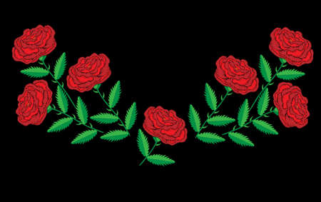 Embroidery stitches imitation red roses for neck line. Fashion embroidery rose flower on black background. Embroidery red roses vector.