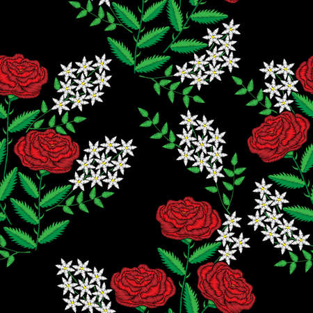 Embroidery stitches imitation seamless pattern with flower. Fashion embroidery rose flower on black background. Vector seamless floral print.