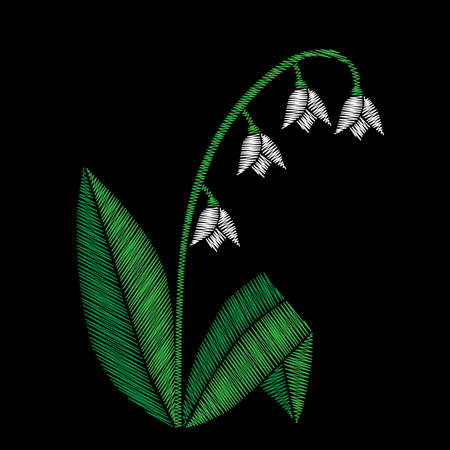 Embroidery stitches imitation floral pattern with lilies of the valley flowers. Vector traditional embroidery folk fashion ornament on black background. Illustration