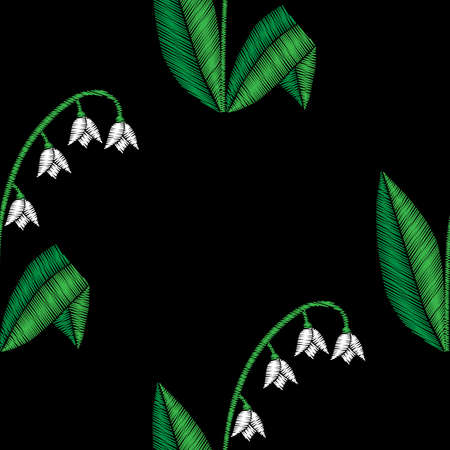 Embroidery stitches imitation floral seamless pattern with lilies of the valley flowers. Vector traditional embroidery folk fashion ornament on black background.