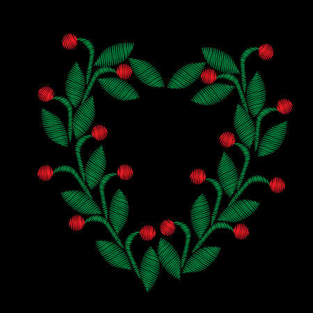 Embroidery stitches imitation floral frame with green leaf and red berry. Vector embroidery folk fashion ornament on black background. Illustration