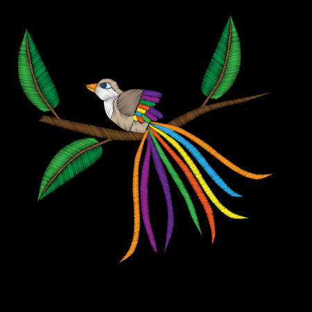 Fancy bird on the brunch embroidery stitches imitation. Template for fabric, textile, patch or print. Fashion bird embroidery. Vector embroidery bird on black background.
