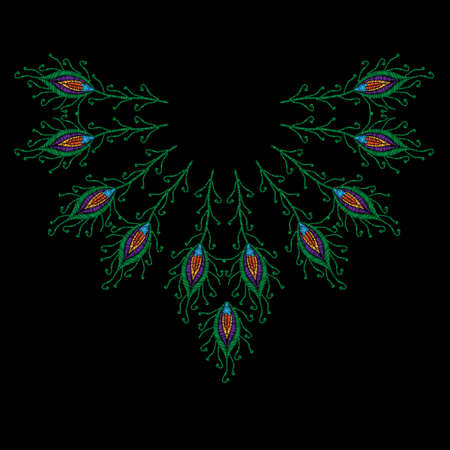 Peacock feathers embroidery stitches imitation for neck line. Template for fabric, textile, patch or print. Fashion peacock feathers embroidery. Vector embroidery feather on black background.
