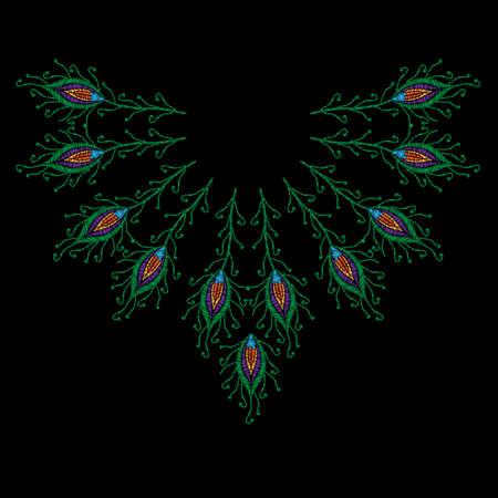 Piqûres de plumes de paon imitation pour la ligne de cou. Modèle pour tissu, textile, patch ou impression. Broderie de plumes de paon de mode. Plume de broderie de vecteur sur fond noir. Vecteurs