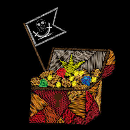 Pirate trunk with treasure and pirates flag embroidery stitches imitation on black background. Embroidery vector illustration with trunk with money, diamond and other.