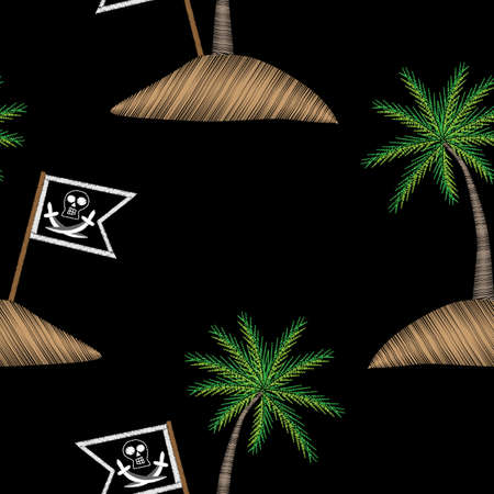 Seamless pattern with pirate flag with palm tree embroidery stitches imitation. Embroidery vector background with pirates flag and exotic palm tree. Illustration
