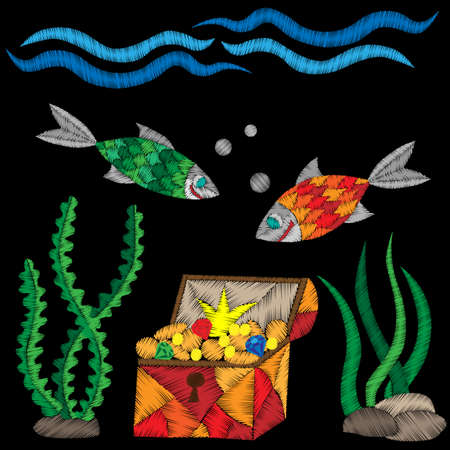 crone: Pirate trunk under water with treasure and fish embroidery stitches imitation on black background. Embroidery vector illustration with trunk, fish, wave.