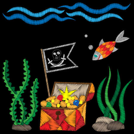 crone: Pirate trunk with flag under water with treasure and fish embroidery stitches imitation on black background. Embroidery vector illustration with trunk, fish, wave.