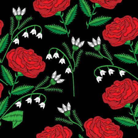 Pattern with little red rose and lily of the valley embroidery stitches imitation. Illustration