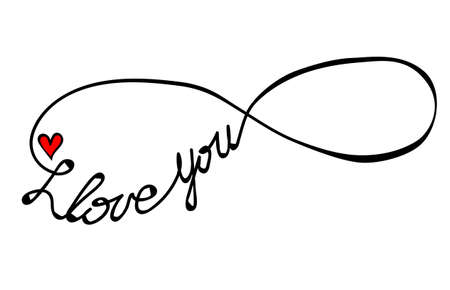 I love you text in infinity form isolated on the white background. Love symbol for greeting card. Stock Illustratie